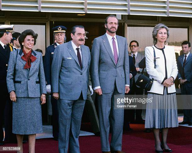 The Spanish Kings Juan Carlos of Borbon and Sofia of Greece with the Argentine President Raul Alfonsin and wife in Rosario 16th April 1985 Argentina