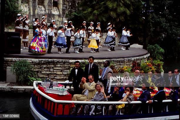 The Spanish Kings on a cruise on the river San Antonio San Antonio