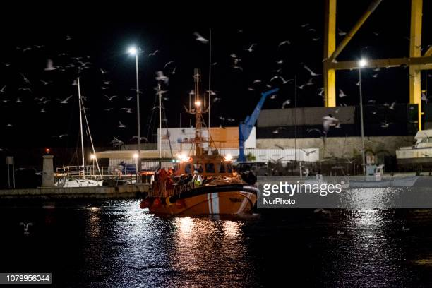 The Spanish Maritime vessel arrives at the Malaga's harbour with 140 rescued migrants on board on January 7 Southern Spain