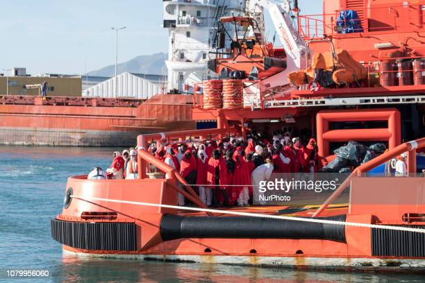 The Spanish Maritime vessel arrives at the Malaga's harbour with 151 rescued migrants on board on January 9 Southern Spain