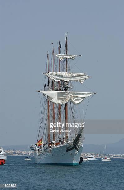 The Spanish military training ship Juan Sebastian Elcano arrives at port Jully 29 2001 at Palma de Mallorca Island Spain