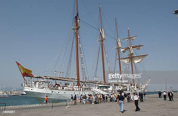 The Spanish military training ship Juan Sebastian Elcano is docked Jully 29 2001 at Palma de Mallorca Island Spain