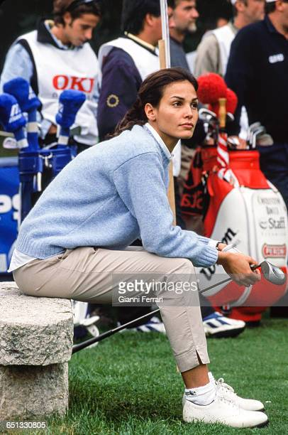The Spanish model Ines Sastre on the golf courses of La Moraleja 23rd Oktober 1997 Madrid Spain