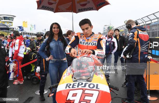 The Spanish MotoGP rider Marc Marquez from Repsol Honda team prepares for the race on a grid during the Motorcycle World Championship Grand Prix...