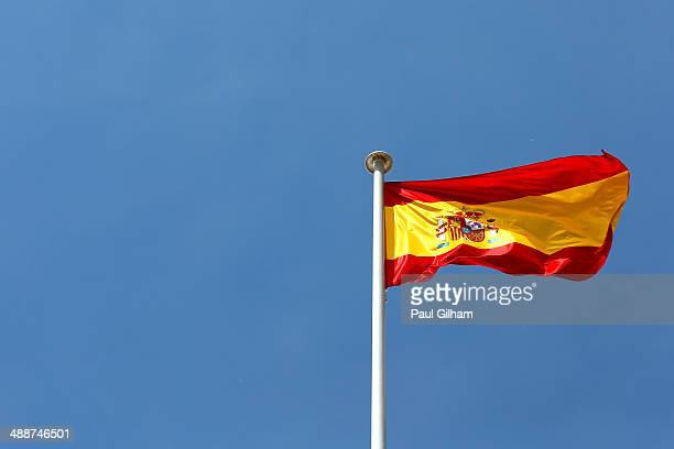 The Spanish national flag flies above the circuit ahead of the Spanish F1 Grand Prix at Circuit de Catalunya on May 8 2014 in Montmelo Spain