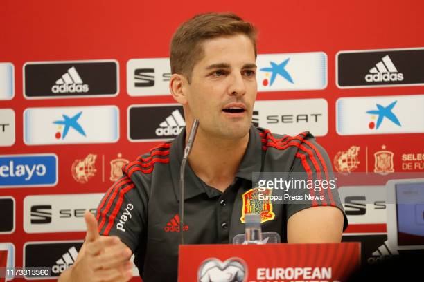 The Spanish National Football Team coach Robert Moreno González is seen during a press conference in El Molinón Stadium on September 07 2019 in Gijón...