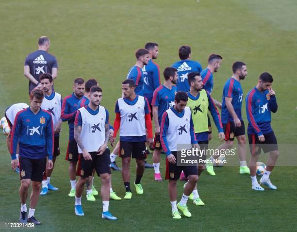 The Spanish National Football Team is seen training at El Molinón Stadium on September 07, 2019 in Gijón, Spain.