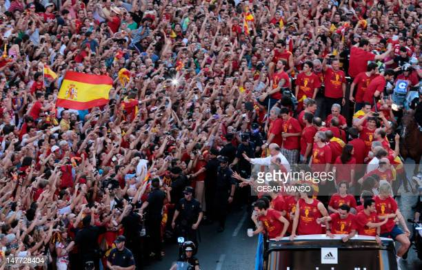 The Spanish national football team parades on July 2 2012 in Madrid a day after it won the final match of the Euro 2012 championships 40 against...
