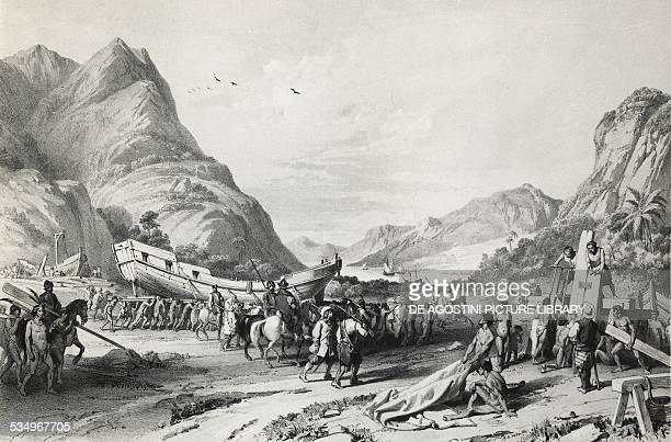 The Spanish navy bringing thirteen brigs to land from Tlaxcala to Mexico lake engraving 1521 16th century Madrid Biblioteca Nacional