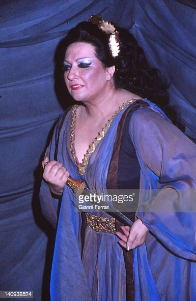 The Spanish opera singer Montserrat Caballe during a performance of an opera Barcelona, Spain.