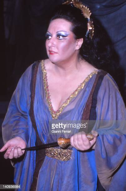 The Spanish opera singer Montserrat Caballe during a performance of an opera Barcelona Spain