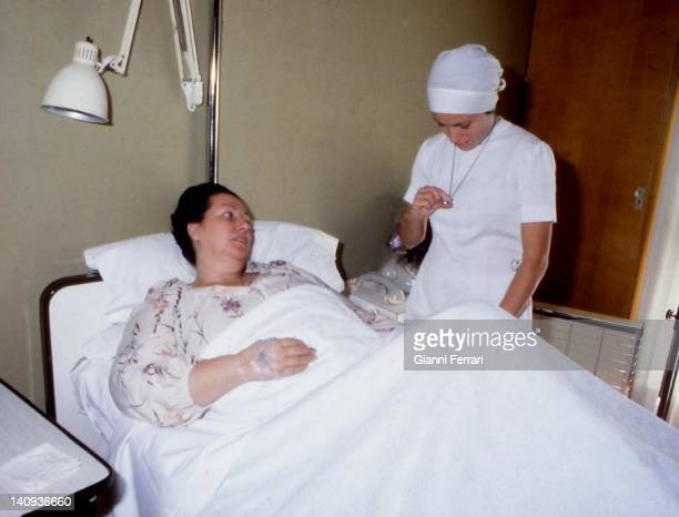 The Spanish opera singer Montserrat Caballe in a hospital Barcelona, Spain.