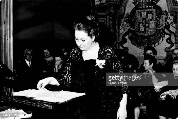 The Spanish opera singer Montserrat Caballe in a representation in the Liria Palace Madrid, Spain.