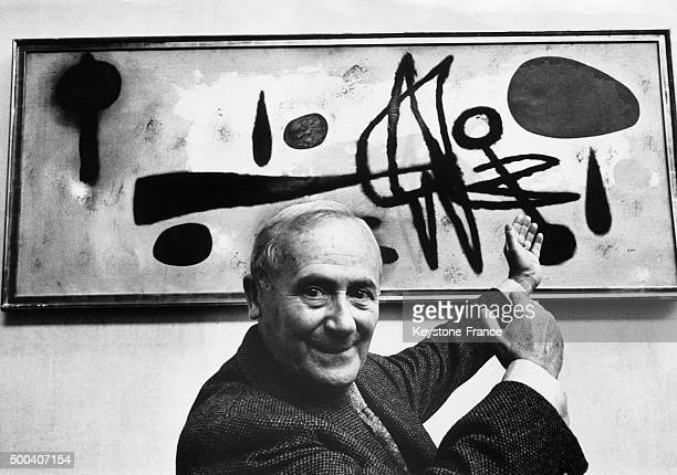 The Spanish painter Joan Miro repainted one of his paint exhibited in London at the Tate Gallery during an exhibition dedicated to him the paint...