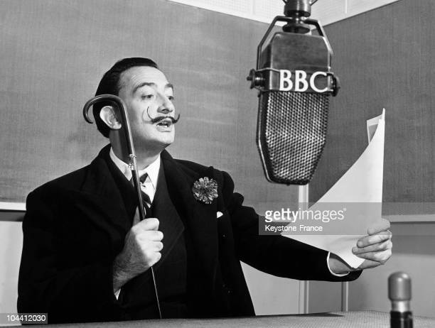 The Spanish painter Salvador DALI giving a radio-broadcasted speech for the BBC, in Spain.