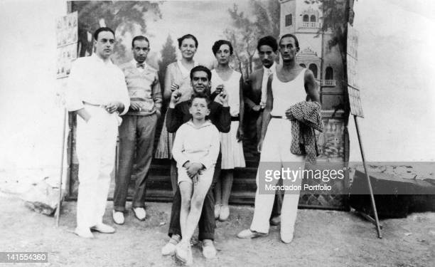 The Spanish poet and playwright Federico Garcfa Lorca in a group photo with the Spanish painter Salvador Dali Spain 1920s
