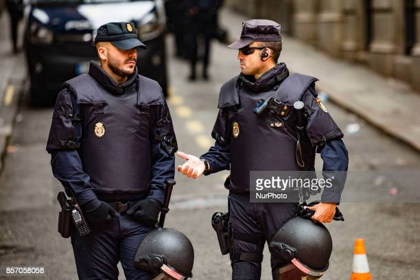 The Spanish police Guardia Civil in front of the Jefatura Superior de Policia during the protests and demonstrations in Barcelona during the general...