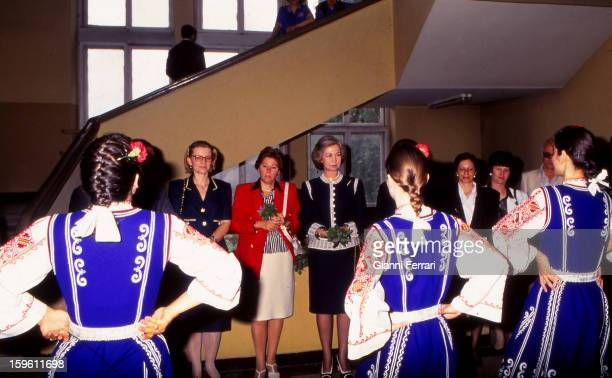 The Spanish Queen Sofia during her official trip to Bulgaria visit the Spanish Liceum Miguel de Cervantes 25th May Sofia Bulgaria