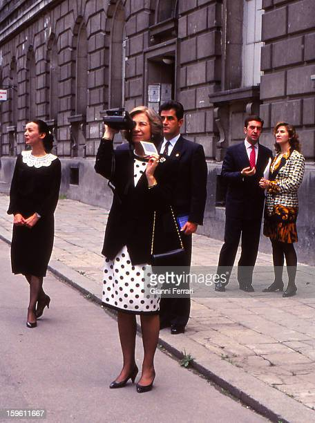 The Spanish Queen Sofia during her official visit to Bulgaria photograph some monuments 24th May Sofia Bulgaria