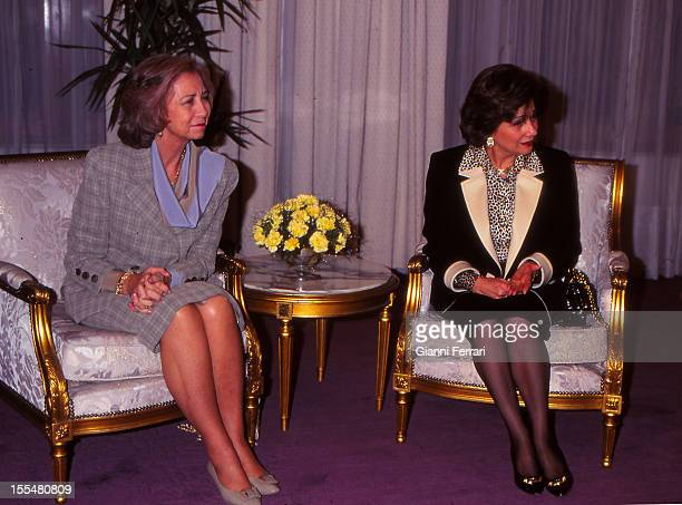 The Spanish Queen Sofia on his official visit to Egypt with the wife of President Hosni Mubarak Susan Twenty First February 1997 Cairo Egypt