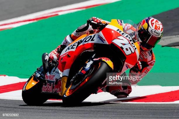 The Spanish rider Dani Pedrosa of Repsol Honda Team riding with his Honda during the Qualifying Moto GP of Catalunya at Circuit de Catalunya on June...