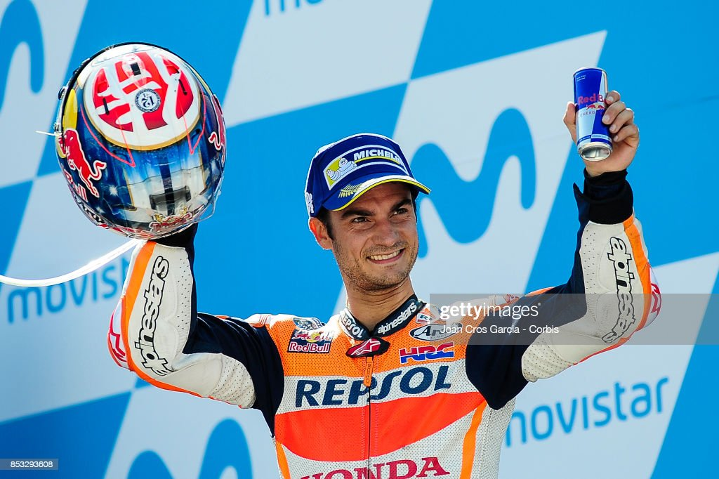 The Spanish rider, Daniel Pedrosa of Repsol Honda Team, celebrating his 2nd place during the Gran Premio Movistar de Aragón on September 24, 2017 in Alcañiz, Spain.'n