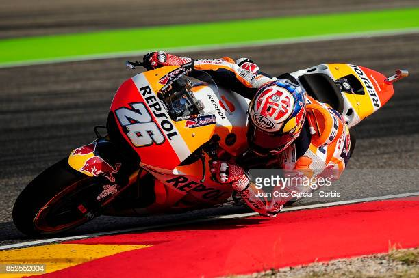 The Spanish rider Daniel Pedrosa of Repsol Honda Team in action whit his Honda during the Gran Premio Movistar de Aragón free practice 3 on September...