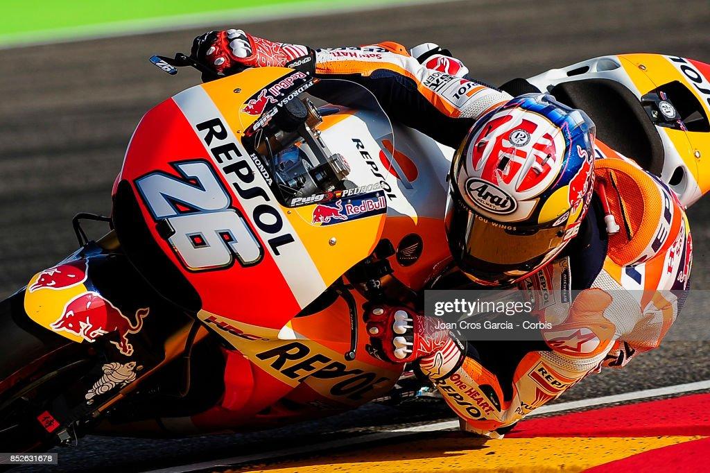 The Spanish rider, Daniel Pedrosa of Repsol Honda Team, in action whit his Honda during the Gran Premio Movistar de Aragón free practice 3 on September 23, 2017 in Alcañiz, Spain.'n