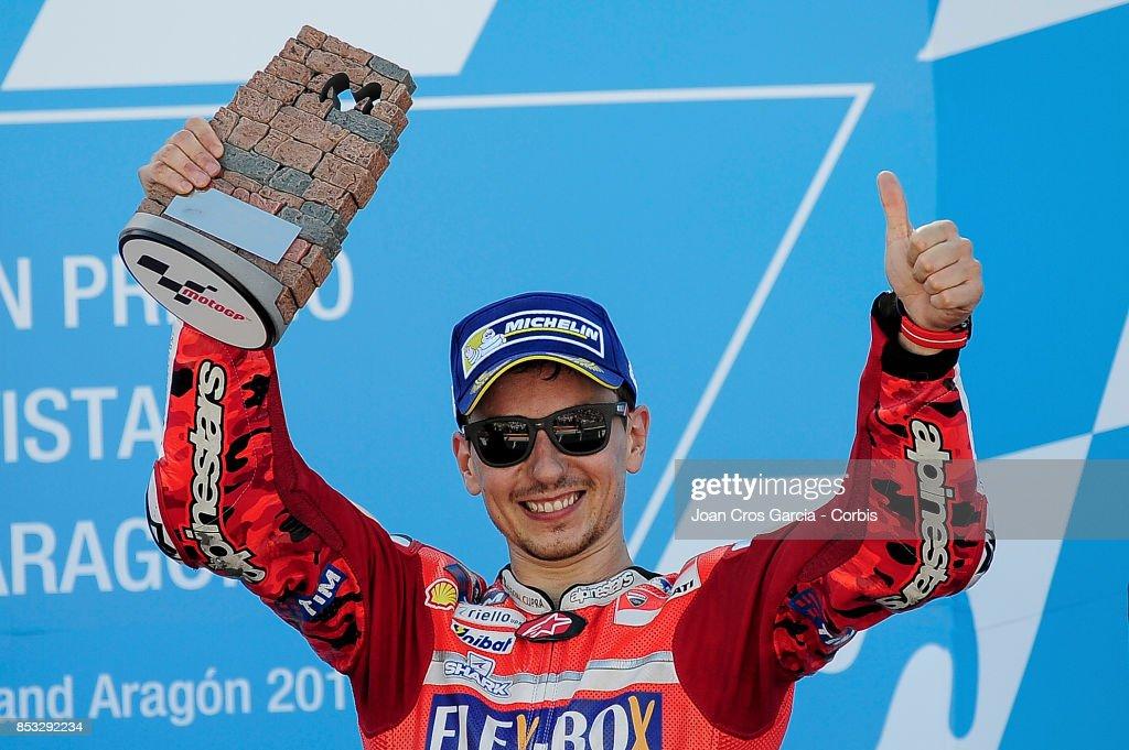 The Spanish rider Jorge Lorenzo, celebrating his 3rd place during the Gran Premio Movistar de Aragón on September 24, 2017 in Alcañiz, Spain.'n