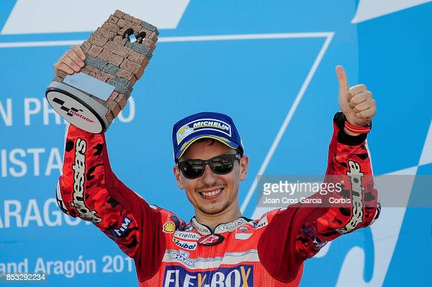 The Spanish rider Jorge Lorenzo celebrating his 3rd place during the Gran Premio Movistar de Aragón on September 24 2017 in Alcañiz Spain'n