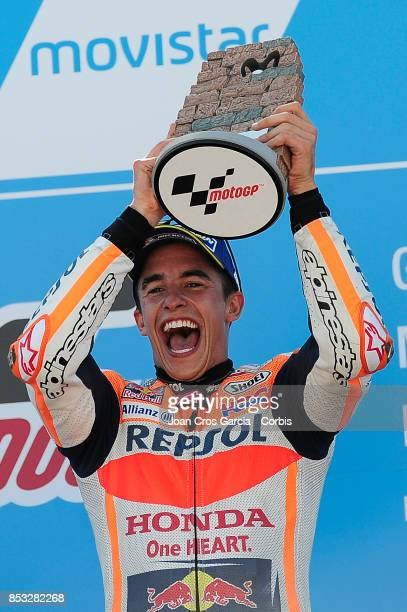 The Spanish rider Marc Marquez of Repsol Honda Team celebrating his victory during the Gran Premio Movistar de Aragón on September 24 2017 in Alcañiz...