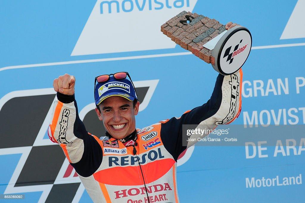 The Spanish rider Marc Marquez of Repsol Honda Team, celebrating his victory during the Gran Premio Movistar de Aragón on September 24, 2017 in Alcañiz, Spain.'n