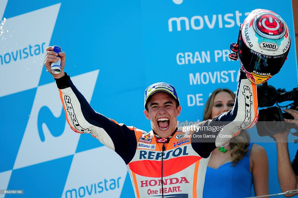 The Spanish rider Marc Marquez of Repsol Honda Team, celebrating his victory during the Gran Premio Movistar de Aragón on September 24, 2017 in Alcañiz, Spain.'n