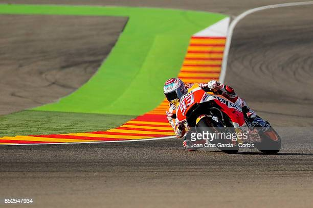 The Spanish rider Marc Marquez of Repsol Honda Team in action with his Honda during the Gran Premio Movistar de Aragón free practice 3 on September...