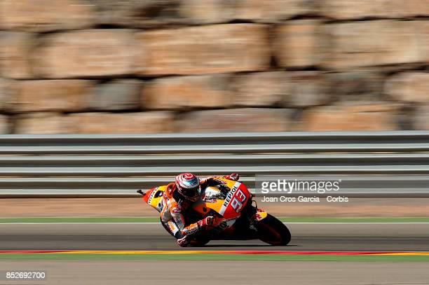 The Spanish rider Marc Marquez of Repsol Honda Team in action with his Honda during the Gran Premio Movistar de Aragón Qualifying on September 23...
