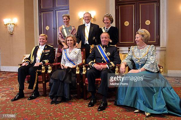 The Spanish royal family gather for an official picture prior to an official state banquet October 23 2001 in Amsterdam The Netherlands Sitting from...