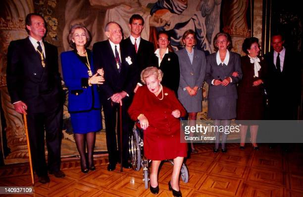 The Spanish royal family in the delivery of the gold medal of Navarre to the father of the King Juan Carlos Juan de Borbon at the Zarzuela Palace the...