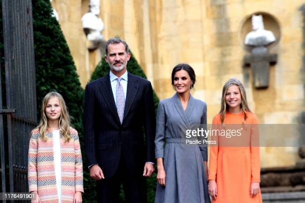 The Spanish Royal family King Felipe VI, Queen Letizia and their daughters Princess Leonor and Infanta Sofia on the first visit to the Cathedral of...