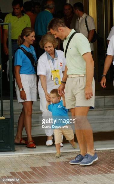 The Spanish Royal family on holiday in Palma on the first day of the Copa del Rey Infanta Cristina Queen Sofia with Juan Valentin and Inaki Urdangarin