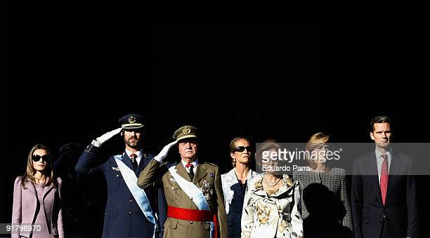 The Spanish Royal family Princess Letizia Crown Prince Felipe King Juan Carlos I Infanta Elena Queen Sofia Infanta Cristina and Duke Inaki Urdangarin...