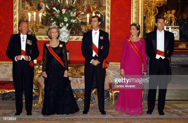 The Spanish royal famiy King Juan Carlos Queen Sofia Prince Felipe Princess Cristina and her husband Ioaki Urdangarin attend a reception in honour of...