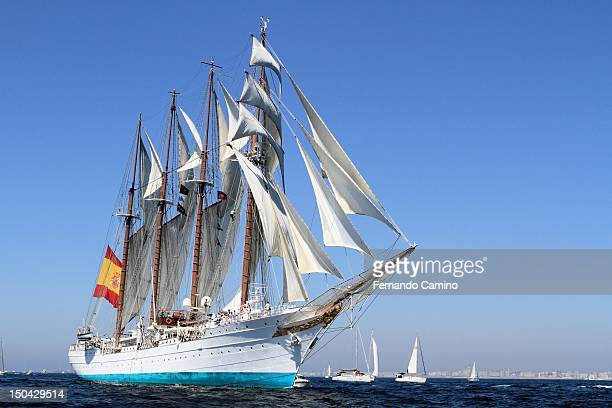 The Spanish school Goleta Juan Sebastian de Elcano Class A of 1927 takes part in the Gran Regata Cadiz Yatch Race on July 29 2012 in Cadiz Spain