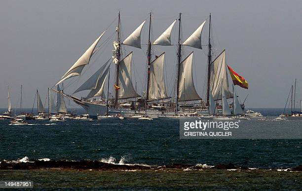 The Spanish schooner 'Juan Sebastian de Elcano' sails during the Tall Ships Races 2012 'Gran Regata Cadiz 2012' in Cadiz on July 29 2012AFP PHOTO/...