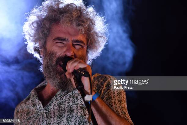 The Spanish singer Abraham Boba pictured during a concert with his group 'León Benavente' in Madrid.