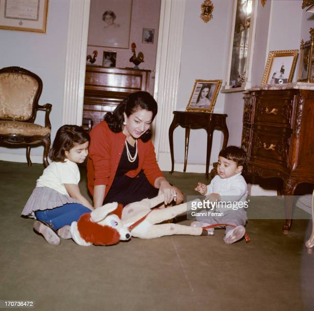 The Spanish singer and dancer Lola Flores at home in Madrid with her children Lolita and Antonio Madrid Castilla La Mancha Spain