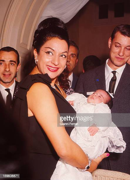 The Spanish singer and dancer Lola Flores at the christening of her third daughter Rosario Madrid Castilla La Mancha Spain