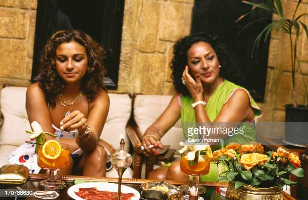 The Spanish singer and dancer Lola Flores during a party in Marbella with her daughter Lolita Marbella Malaga Spain
