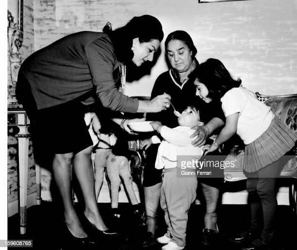 The Spanish singer and dancer Lola Flores with her children Lolita and Antonio Madrid Castilla La Mancha Spain
