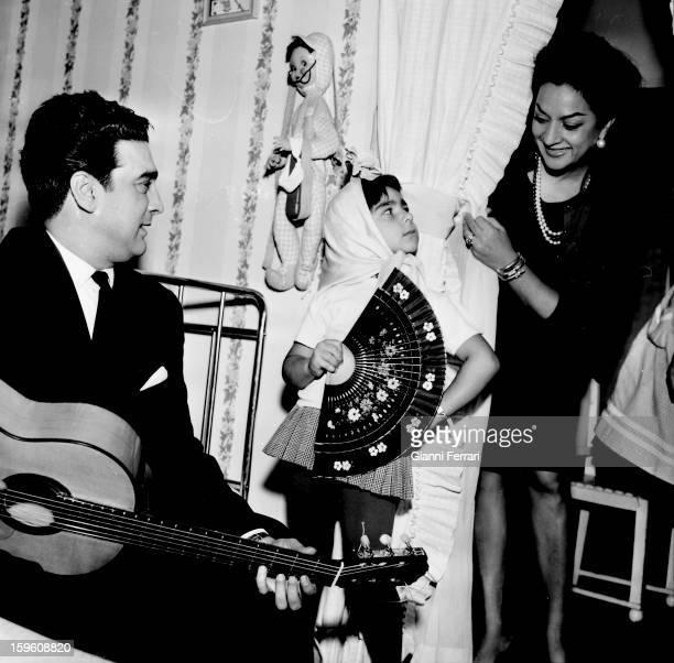 The Spanish singer and dancer Lola Flores with her daughter Lolita Madrid Castilla La Mancha Spain