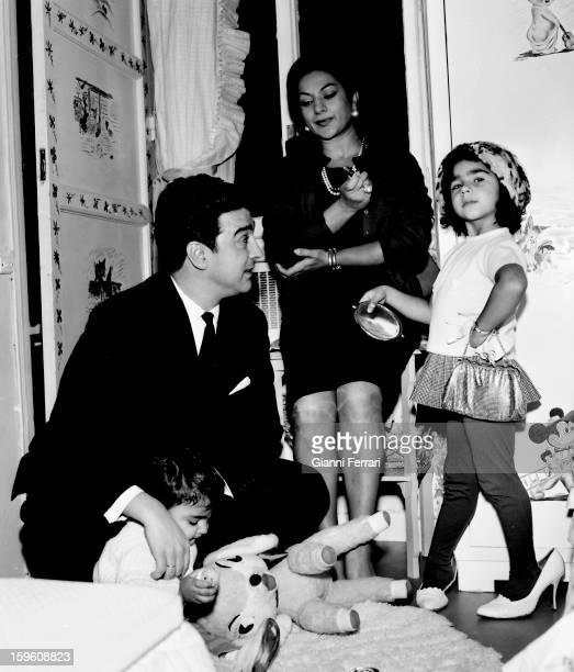 The Spanish singer and dancer Lola Flores with her husband Antonio Gonzalez 'El Pescailla' and her daughter Lolita Madrid Castilla La Mancha Spain